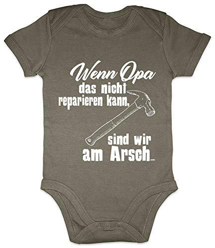 HARIZ Baby Body Kurzarm Opa Reparieren Am Arsch Opa Werden Baby Bodies Enkel Enkelin Zur Geburt Plus Geschenkkarten Olive Moos Grün 6-12 Monate