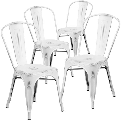 Flash Furniture 4 Pk. Distressed White Metal Indoor-Outdoor Stackable Chair -  4-ET-3534-WH-GG