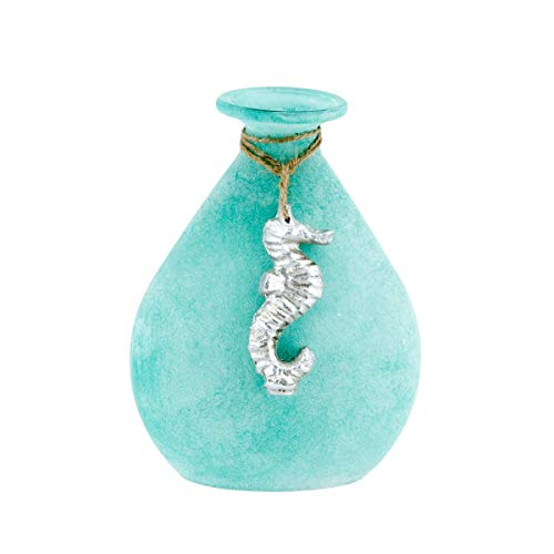 Beachcombers Frost Tear Bottle with Seahorse Teal