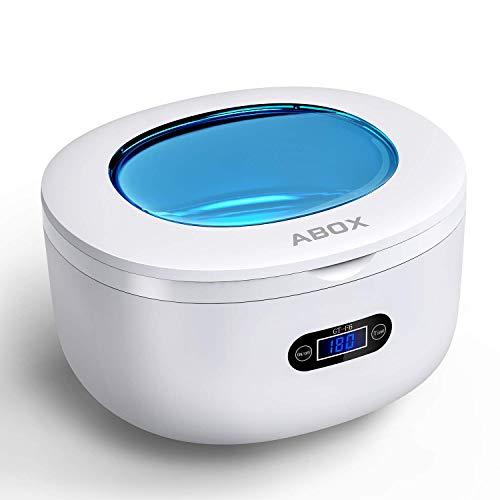 Nettoyeur à Ultrasons, ABOX 750ML Appareil de Nettoyage Domestique avec 5 Réglages du Temps, Panier et Support de...