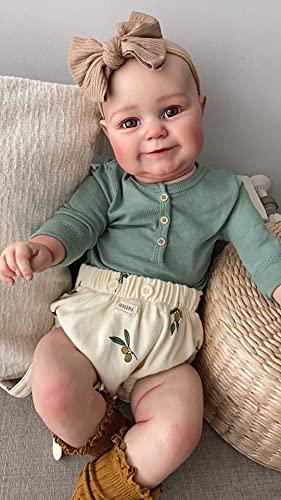 Pinky Reborn Poupées Reborn Bébé 24 Pouces 60 cm Nouveau-Né Fille Bébé Réaliste Real Soft Touch Maddie avec Dessin À La Main Cheveux Poupée d'art À La Main