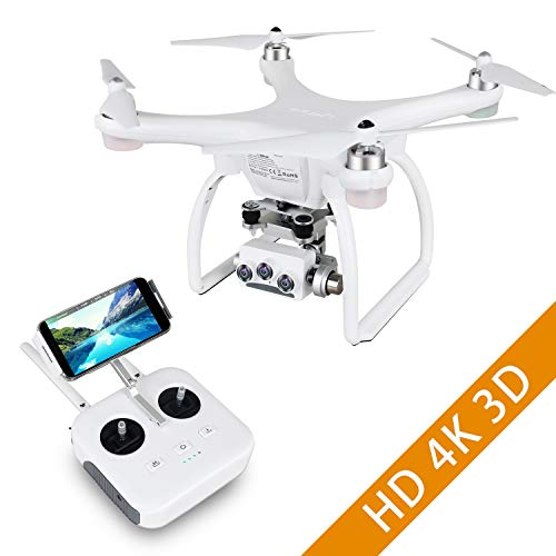 UPair Two Drohne mit 4K HD Kamera, FPV Drohne mit 3D Video, Quadrocopter Kinder, 5.8G RC WiFi-Übertragung, 3 Achsen Stabilisierungs Gimbal, GPS/Optical Flow, Flugbahn Anpassung, One-Key-Return
