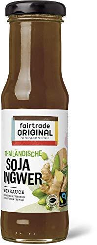150 ml Soja Ingwer Soße von Fairtrade Original | süße Sauce | Thai Marinade | Woksauce | Soy Ginger Soße | Gewürzsauce für asiatische Speisen | für Rindfleisch, Hähnchen, Fisch, Gemüse