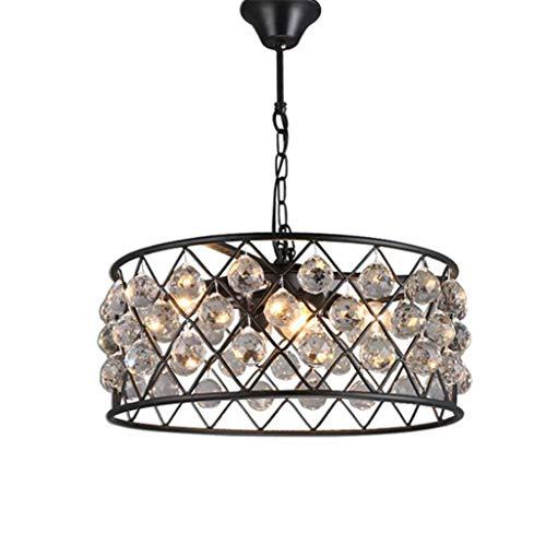 LJF - Lámpara Lámpara colgante de cristal negro industrial, 4 piezas E27 soporte de metal + candelabro