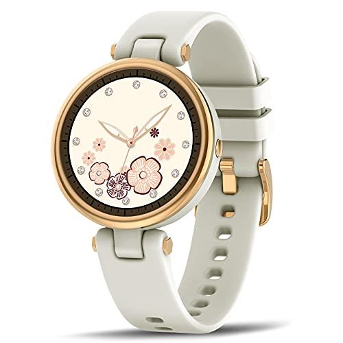 Smartwatch Mujer,1.09 Inch Reloj Inteligente Mujer con Pulsómetro,Monitor de Sueño,Pasos Calorías,Presión Arterial,Notificaciones Inteligentes,Impermeable IP67 Reloj Mujer para iOS y Android (Blanco)