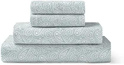 Brielle Home 100-Percent Cotton Flannel Sheet Set, King, Paisley Park Spa