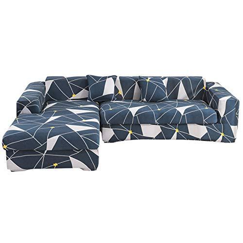 NOBCE Funda de sofá elástica de Color sólido para Sala de Estar Fundas de sofá de Esquina seccionales elásticas universales de Estilo L para sofá 235-300CM
