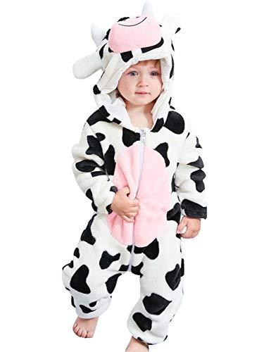Happy Cherry - Niños Mono Disfraces Invierno Franela Bebés Niñas Traje de Mameluco Ropa Pelele Pijama Animales con Capucha Otoño - Vaca - 6-12 Meses