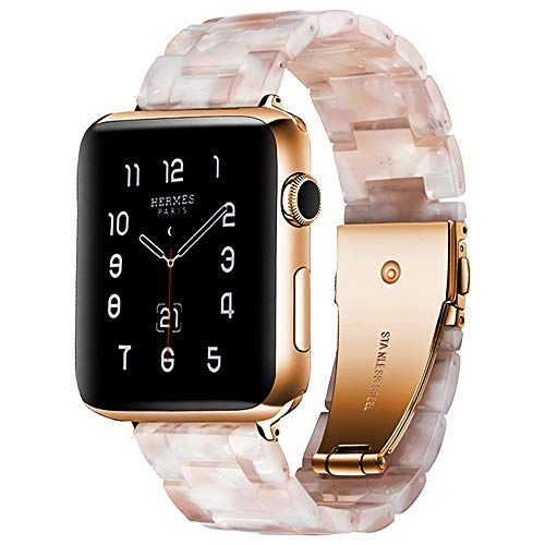 BONSTRAP Resin Watch Band with Metal Buckle 40mm 38mm for Apple Watch Series 4 3 2 1