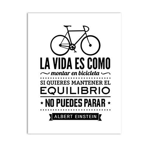 Spanisches Leben Zitat Leinwand Kunstdruck Poster Das Leben ist wie EIN Fahrrad Leinwand Malerei Poster Spanisches Zuhause Wohnzimmer Dekoration-50x60cm Kein Rahmen