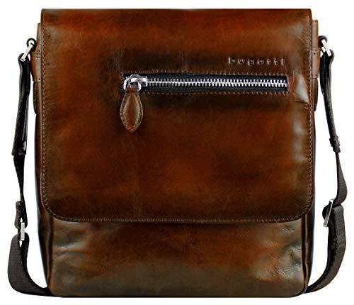 Bugatti Domus Kleine Leder Umhängetasche für Damen und Herren, Schultertasche Messenger Bag Kuriertasche, Cognac