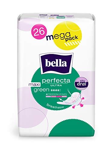 bella Perfecta Ultra Binden extra lang Maxi Green 4x26 Stück mit Flügeln, extra lang, Parfümfrei und Atmungsaktiv