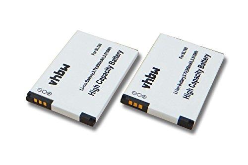vhbw 2X Li-Ion Akku Set 950mAh (3.7V) für schnurlos Festnetz Handy Siemens Gigaset SL400A, SL400H, SL400, SL780, SL785 wie 4250366817255.