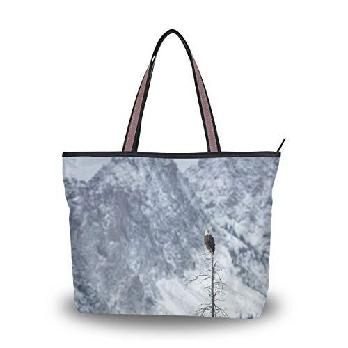 Jessgirl Einkaufstasche mit Taschen Haltbare Kappe Cold Eagle und Landschaft L Niedliche Tasche Canvas Handtasche Groß für Frauen