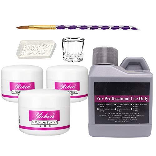 Warm Girl Acryl Nail Kit Acryl Poeder en Acryl Vloeibare Set, 3 Kleuren Roze Wit Clear Nail Poeder Kit voor Nail Extension Acryl Art Borstel Professionele Kits 120 ml