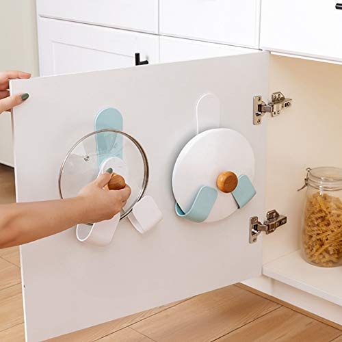 LING 2 Pcs Self Adhesive Pot Lid Rack Holder Wall-Mounted - Kitchen Gadget Storage Hook - Free Rotatable Lid Organizer for Cabinet Door - 2020 New Upgrade Foldable and Rotating Design(2/Pcs)