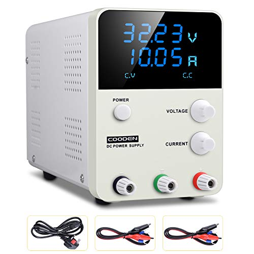 DC Power Supply Variable Switch, COODEN 0-30V 0-10A Power Supply Adjustable Regulated Power Supply Digital with Alligator Leads UK Power Cord CP3010S (DC Power Supply 30V-10A)