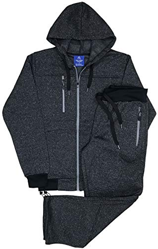 Royal Threads Canada Men's Tech Fleece Sweat Pants and Sweat Jacket Winter Suit (Charcoal, XL)