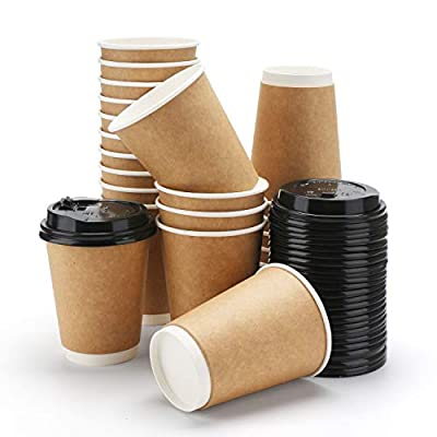 Coffee Cups With Lids, Eusoar 12 oz Hot Chocolate Cups Disposable Double Walled with Lids 25pcs, Water Cups, Perfect Travel To Go Party Paper Cups for Hot Coffee, Tea, Chocolate Drinks
