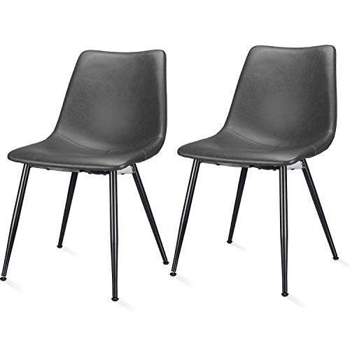 JustRoomy 18 Inches Mid Century Chair Faux Leather 18' Height PU Dining Chairs Pack of 2 for Kitchen Table Dining Room Living Room Patio Bistro Farmhouse Restaurant, Dark Grey Bucket Seat Metal Legs