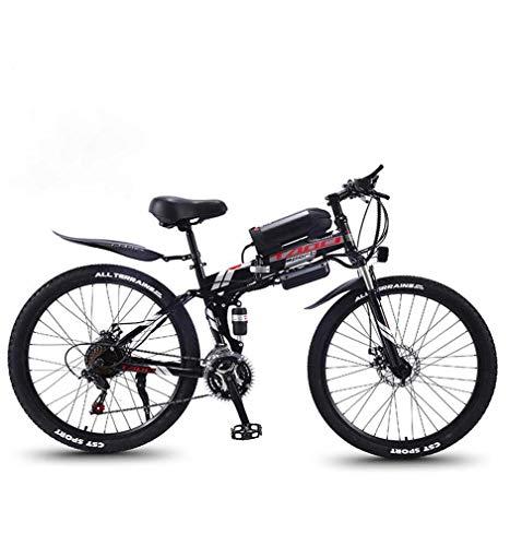 AISHFP Mountain Bike elettrica Pieghevole per Adulti, Bici da Neve 350W, Batteria Rimovibile agli ioni di Litio 36V 10AH per, 26 Pollici a Sospensione Completa Premium,Nero,27 Speed