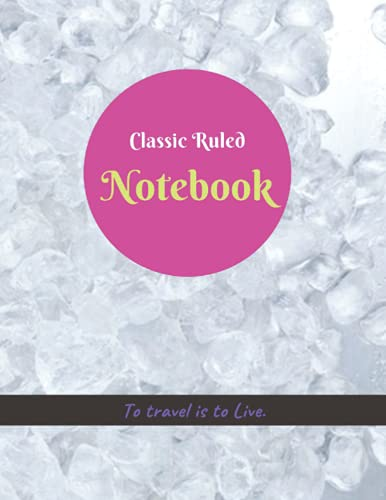 Classic Ruled Notebook, Crushed ice background cover, 100 pages - Large(8.5 x 11 inches)