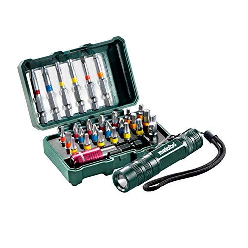 Metabo Bit Box SP + Mini Taschenlampe (29-teilig, S2-Qualität; 100 Lumen, Leuchtdauer: 180 min) 626721000