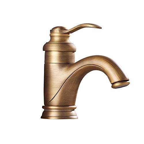 ZWJ-JJ Estilo europeo de cobre antiguo Corto Cuenca tetera Lavabo agua caliente y fría del grifo de mezcla Hermosa práctica