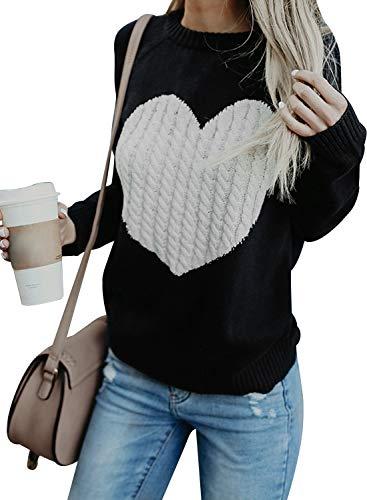 Maglione Donna Felpa Ragazza Sweatshirt Oversize Pullover Invernali Primavera Manica Lunga Casual Moda Girocollo Tops Regalo Ideale per Natale (Large, Black)