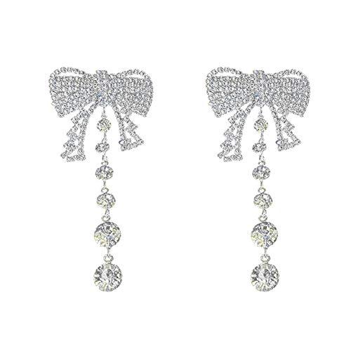 Pendientes Moda Aretes Diamante Completo Aretes Borla Para Mujeres Niñas Banquete Novia Banquete Lujo Joyería Oreja Regalos