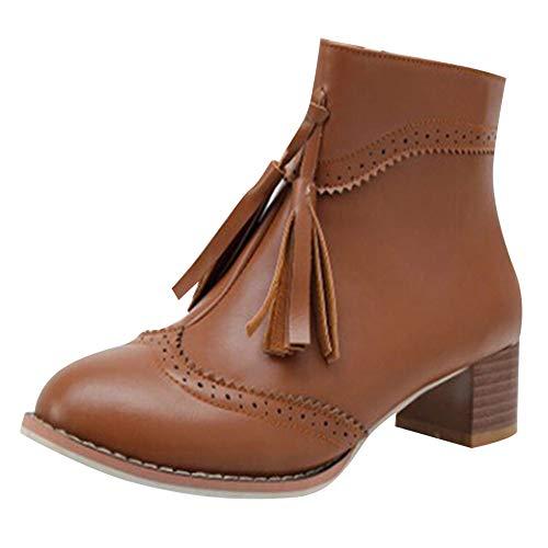 Harpily Damen Retro Frauen Platz Hohe Schuhe Anti Rutsch Reißverschluss Quaste Mittlere Ferse Fringed Englisch Kurze Große Mit Stiefel