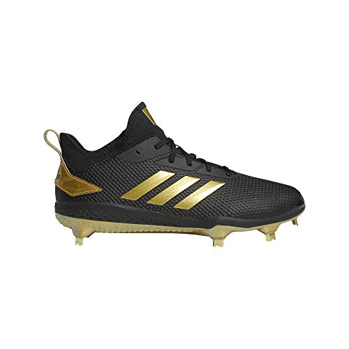 adidas Men's Adizero Afterburner V Baseball Shoe, Black/Gold Metallic/Gold Metallic, 8 M US
