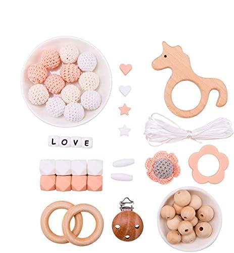 Mamimami Home DIY Bébé Jouets de dentition Silicone Collier de soins infirmiers Perles de crochet Bracelet En bois Licorne Clips de sucette Cadeau de douche de bébé