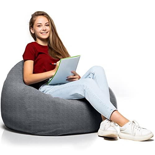 Funda de Puff Salon Moderno - Puf Gigante sin Relleno Incluido para Gamer o Decoracion Habitacion Adolescente - Puff Pera, Infantiles XXL, Bean Bag Chair o Cojin de Suelo Grande Gris