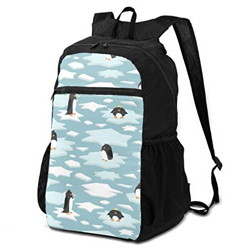 JOCHUAN Packable Daypack Waterproof Travel Cute Penguin Cartoon Ice Blue White Daypack Travel Backpack Travel Daypack for Men Lightweight Waterproof for Men & Womentravel Camping Outdoor