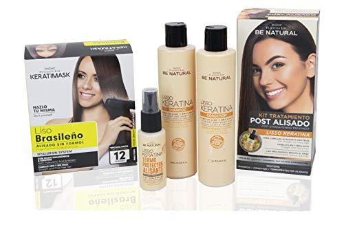 Be Natural, Pack de Alisado Profesional Brasileño + Pack Postalisado Lisso Keratina.
