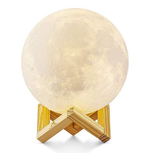 Mondlampe 3D Nachtlicht Dimmbar, ALED LIGHT 15cm LED Mond Lampe Touch Mondlicht Sternenhimmel Lampe Baby Mond Nachtlicht USB Aufladung Mondlampe Led Licht Moonlight Lamp für Zimmer Dekor Geschenk