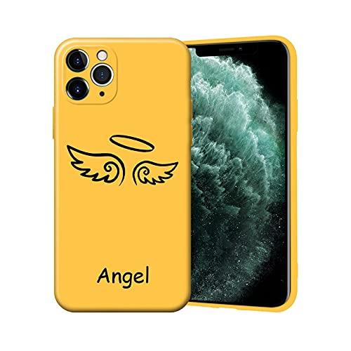 Lindo Demonio Ángel Parejas teléfono caso para iPhone 11 12 Pro XS MAX 7 SE 2020 X XR 6 8Plus negro silicona cubierta Caramelo Fundas Coque-Y3516-para iPhone XS Max