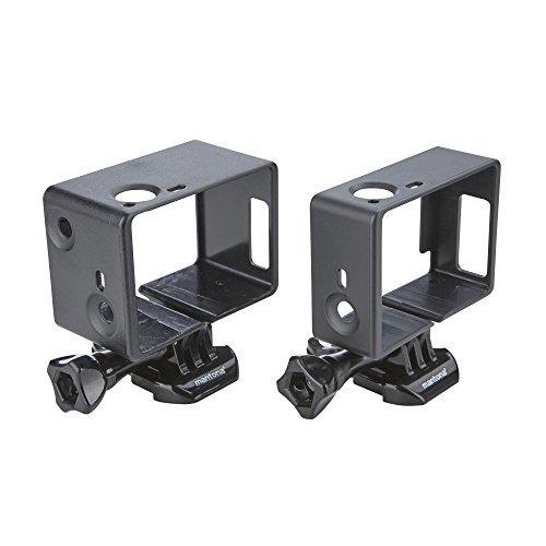 Mantona 21290 Rahmen und Linsenschutz Set XL (für GoPro Hero 4 / 3+, 2 Rahmen, mit Clips, Schrauben und Linsenschutz) schwarz