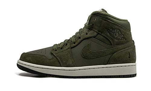 Nike Air Jordan 1 Mid, Scarpe da Basket Uomo, Multicolore (Olive Canvas/Black/Light Bone/Cone 300), 40.5 EU