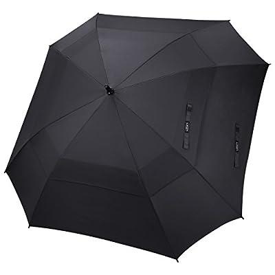 G4Free Extra Large Golf Umbrella 68 Inch Vented Square Umbrella Windproof Auto Open Double Canopy Oversized Stick Umbrella(Black)