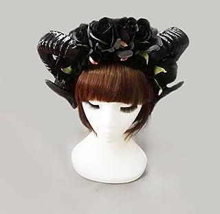 Changlesu - Diadema de Cuernos de Oveja, Estilo Victoriano, Color Negro, Ideal para Fiestas o Fiestas