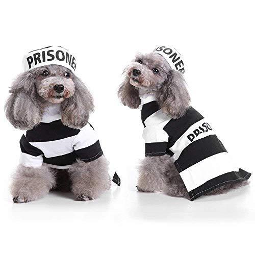 YOUDirect Gefangener Hund Kostüm Welpe Jail Cosplay Hund Halloween Kostüm mit Hut für kleine Hunde lustiges Foto Requisiten Zubehör, XL