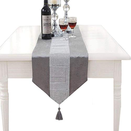 E EBETA Elegante runner da tavolo, elegante e moderno, con strass, tovaglia, tavolino da caffè e due nappe, per feste, matrimoni, decorazione (grigio, 32 x 180 cm)