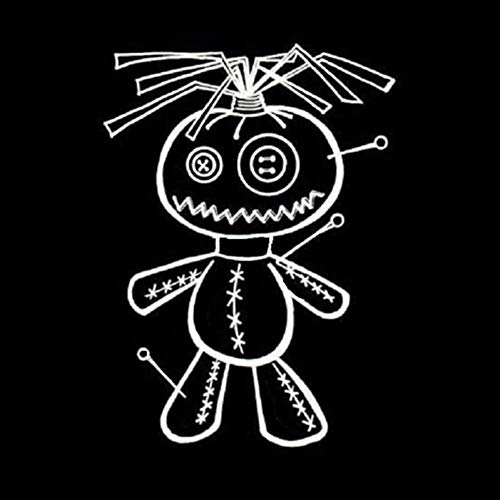 MCTYLI autosticker, 11 x 15,2 cm, motief Vaudou Pop, schattig, vinyl, cartoon-cartoon, zwart/zilverkleurig