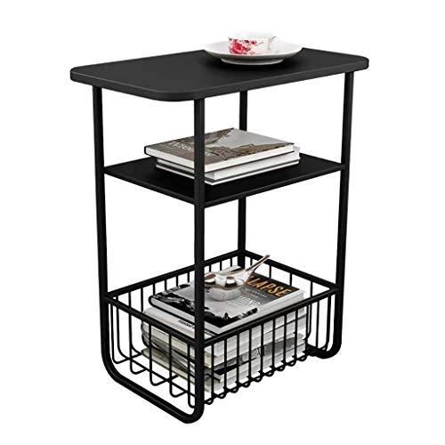 ZWJLIZI Sofa side table, Nordic modern side table, magazine storage rack, light small coffee table/corner table/balcony square table (Color : Black)