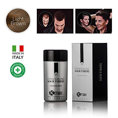 Kmax Concealing Hair Fibers, remède pour perte de cheveux – Format économique 27,5 g CASTANO CHIARO
