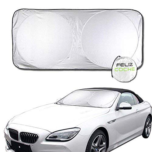 FelizCoche Foldable Car Windshield Sun Shade Size 63' x 31-1/2' Inside Use UV Reflector Inner Protection -Making a Cool Driving