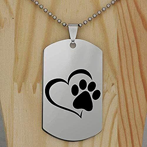 Yiffshunl Collar de Moda de Acero Inoxidable con Estampado de Pata de Perro, Collar con Colgante, joyería de Animales, Collar con Estampado de Mascotas para Regalo de Mujer