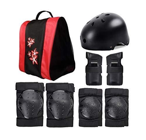 Ensemble complet d'équipement de protection pour enfants, pour le patinage à roulettes, le patinage, les patins, le vélo d'équilibre, l'équipement de protection, avec casque et sac à dos,Noir,M
